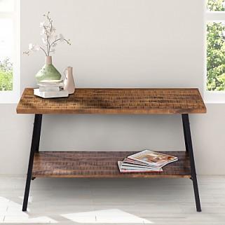 "48"" Sofa Table, Solid Wood & Dura Metal Legs (Rustic Brown)"